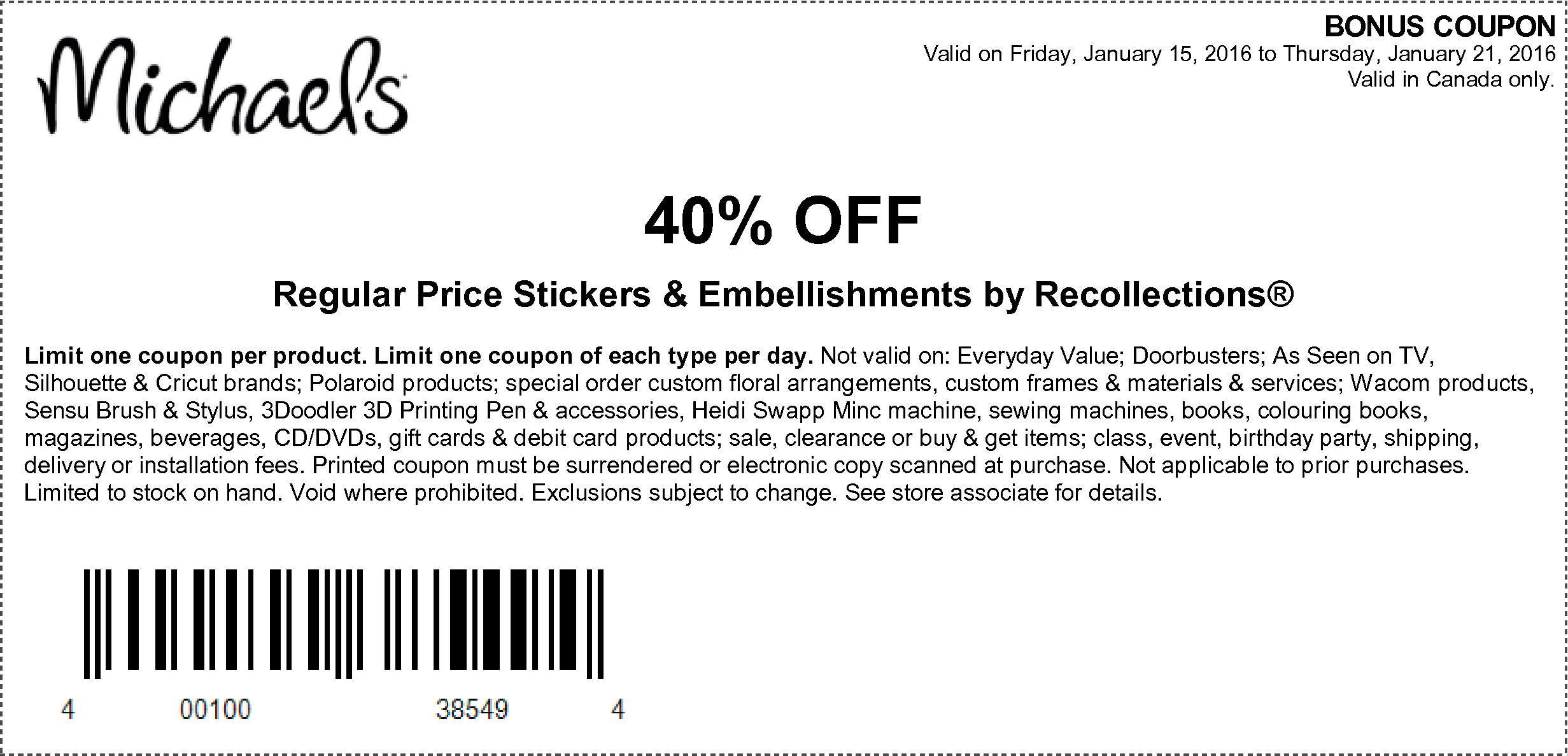 Michaels coupons january 2019